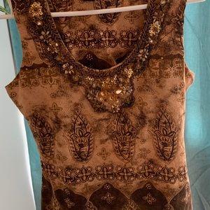 INC clothing Co. Petite blouse beaded neckline